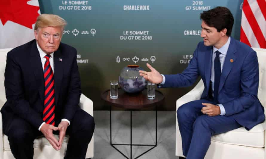 Donald Trump and Justin Trudeau endure a bilateral meeting at the G7 Summit in in Charlevoix, Quebec, in June.