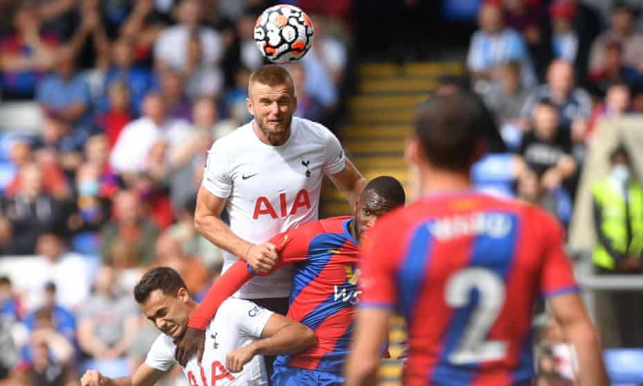 Tottenham Hotspur's Eric Dier heads the ball at Crystal Palace