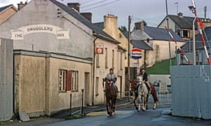 Clady, a border village between Northern Ireland and Republic of Ireland, pictured in 1985 during the Troubles.
