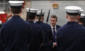 The new defence secretary, Gavin Williamson, meeting crew members onboard HMS Queen Elizabeth today during her latest sea trials.