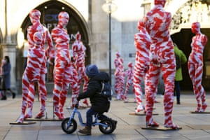 Munich, Germany. An art installation of 111 mannequins appears on Marienplatz, calling for more mindfulness and appreciation in times of coronavirus