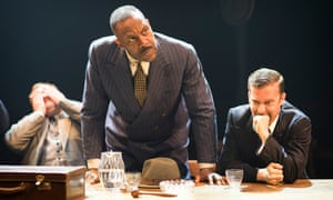 Simon Holland Roberts (Grocer 2), Lenny Henry (Arturo Ui) and Philip Cumbus (Clark) in The Resistible Rise of Arturo Ui at the Donmar