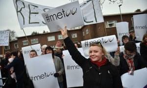 Protestors outside the Kingspan stadium in Belfast.
