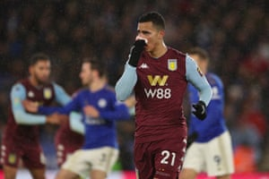 Anwar El Ghazi of Aston Villa stops blood coming out of his nose.