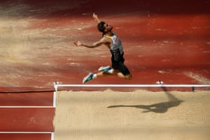 Germany's Rico Freimuth competes in the long jump of the mens decathlon.