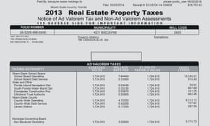 The document showing Grupo Pierdant paid tax on Angelica Rivera's apartment in Key Biscayne. Paid in march 2014, for 2013 tax years.