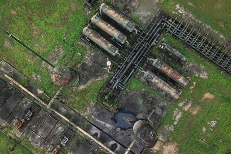 A drone photograph of the Bomu manifold, the storage and separation facility where the Kegbara Dere oil spill began in 2009