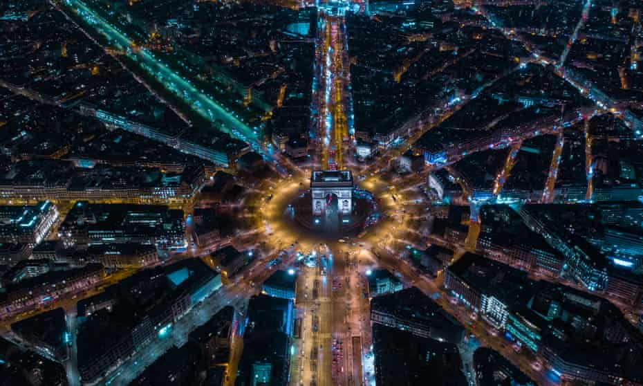 An alternate reality in The Mask Falling ... Paris from the air.