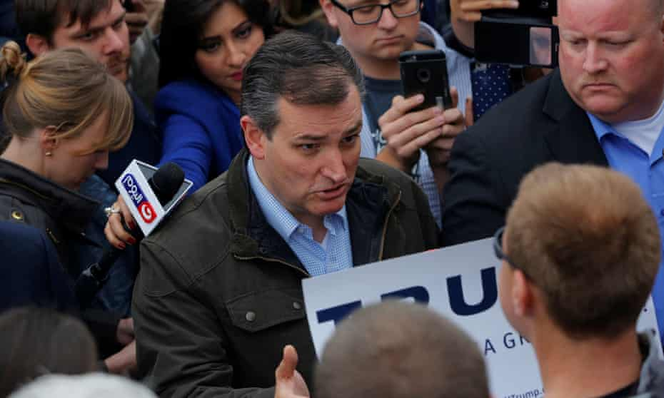 Republican presidential candidate Ted Cruz comes face to face with supporters of Donald Trump Marion, Indiana, where he endured mockery over his birthplace.