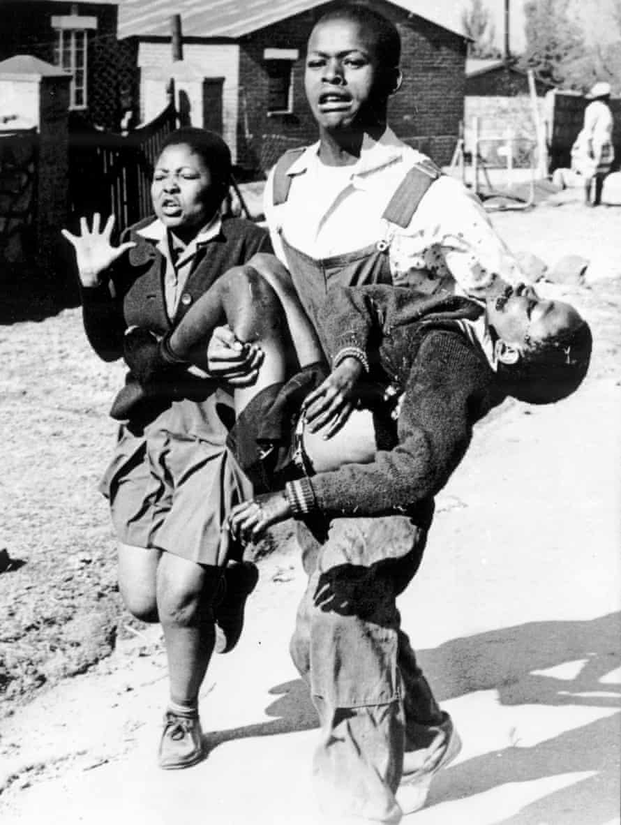 Umbiswa Makhubo carries the body of Hector Pieterson, photographed by Sam Nzima