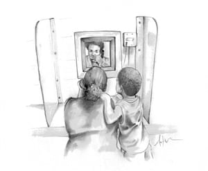 Visiting time … an illustration by prisoner Antwan Williams for the Thick Glass episode