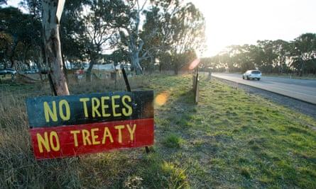 The Djap Wurrung protest camp guarding the sacred Indigenous birthing trees.
