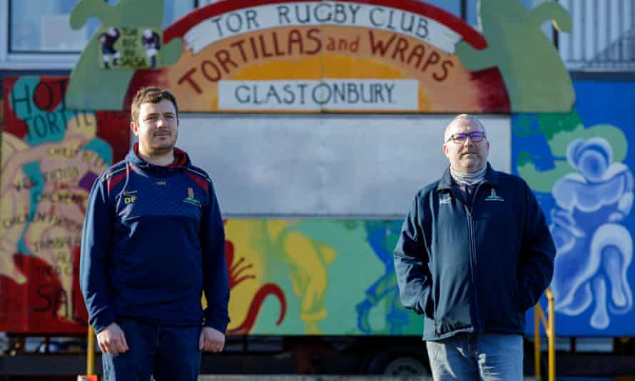 Richard Hopkins (right), president of the Tor rugby club, and organiser Dan Ferriday have run a tortilla stall at the festival for over 20 years. It is a major source of revenue for the club.