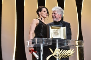 Juliette Binoche and President of the jury Pedro Almodovar are seen on the stage during the Closing Ceremony