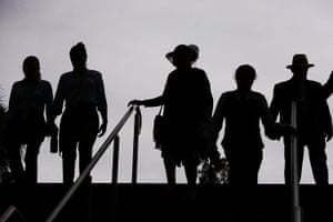 Racegoers arrive during Melbourne Cup Day.