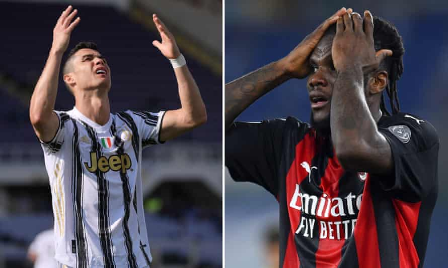 Cristiano Ronaldo of Juventus (left) and Milan's Franck Kessie: both clubs are involved in an unexpectedly fierce scrap for Champions League qualification.