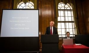 David Davis delivering a speech on the economic case for Brexit last week.