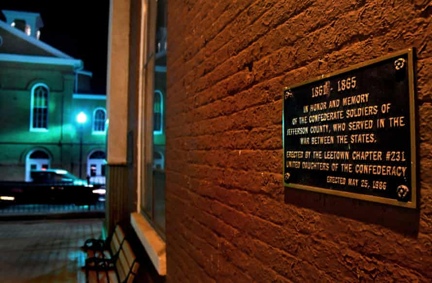 Slaves were once sold on the steps of the Jefferson county courthouse and the trial for Harpers Ferry raider John Brown was held there. This plaque honoring confederate soldiers is just feet from the entrance.
