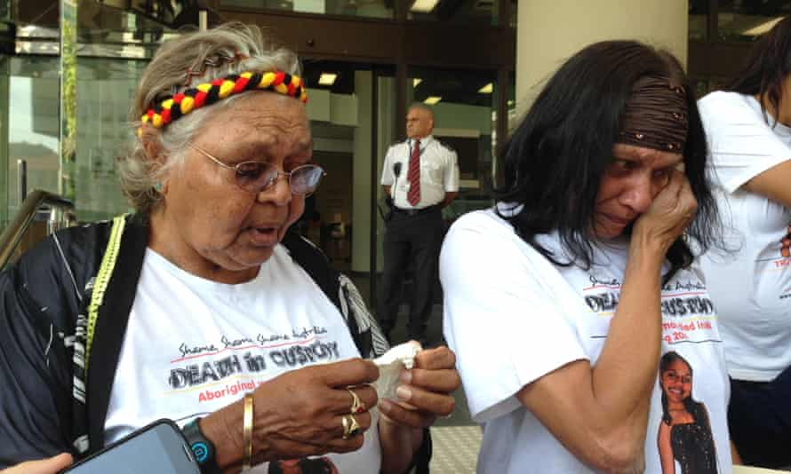Ms Dhu's grandmother Carol Roe, left, and mother Della Roe outside court in Perth on November 23.