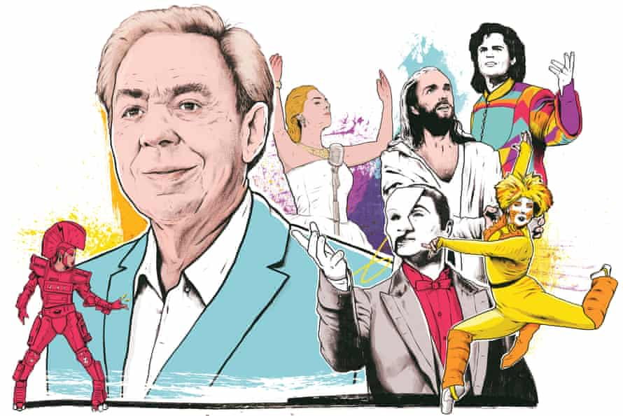 Andrew Lloyd Webber with scenes from, clockwise from left, Starlight Express, Evita, Jesus Christ Superstar, Joseph and the Amazing Technicolor Dreamcoat, Cats and Phantom of the Opera.