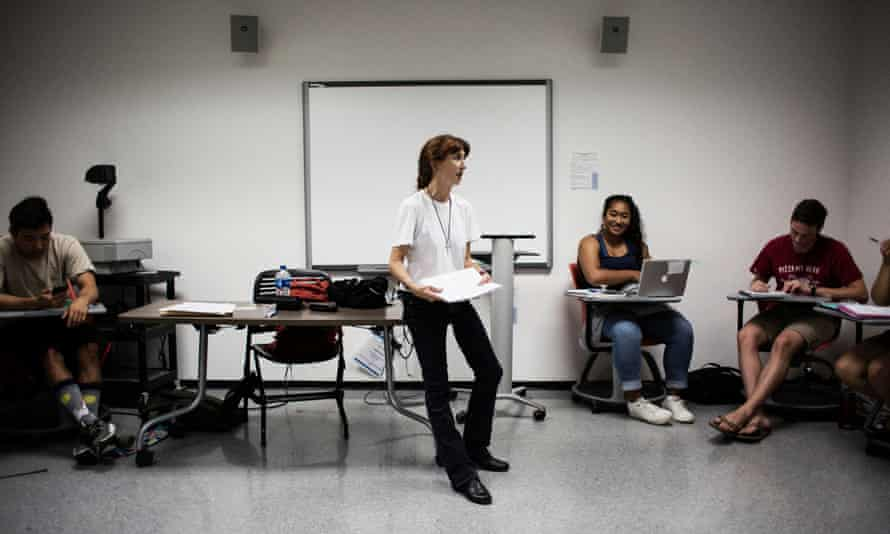 Ellen James-Penney teaching an English class at San Jose State University in California. She tells her students, 'you're looking at someone who is homeless'.