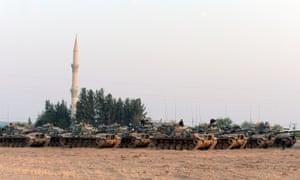 Turkish tanks stationed in Karkamiş near the Syrian border.