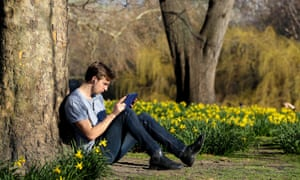 a man sits on short-sleeve shirt among the daffodils in a park