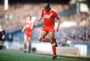 Liverpool's John Barnes backheels a banana that was thrown on to the pitch during their fifth-round FA Cup win at Everton in 1988.