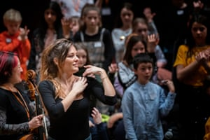 Violinist Nicola Benedetti with the Benedetti Foundation in Glasgow in January. Now the sessions have moved online.