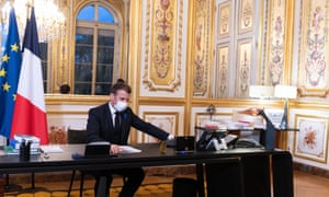 Macron in his office talks on the phone for first time with the new president-elect Joe Biden on 10 Nov 2020.