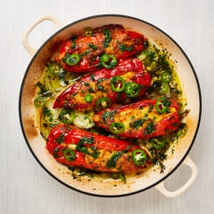 Yotam Ottolenghi's corn-stuffed peppers with pickled jalapeños