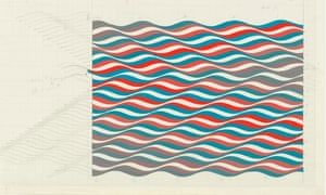 Bridget Riley's 1964 untitled preparatory study leading to Warm and Cold Curves