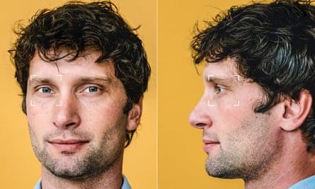 Head shot of psychologist Michal Kosinski with white surveillance square marks round his eyes
