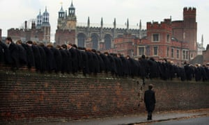 Students watch the traditional Eton wall game.