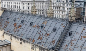 Visible damage on the roof of the Palace of Westminster.