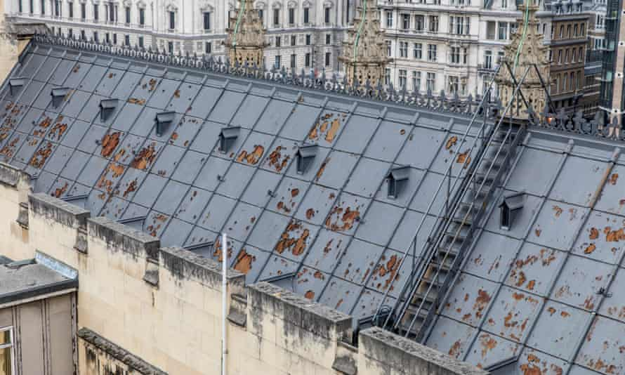 leaky Houses of Parliament rooftops