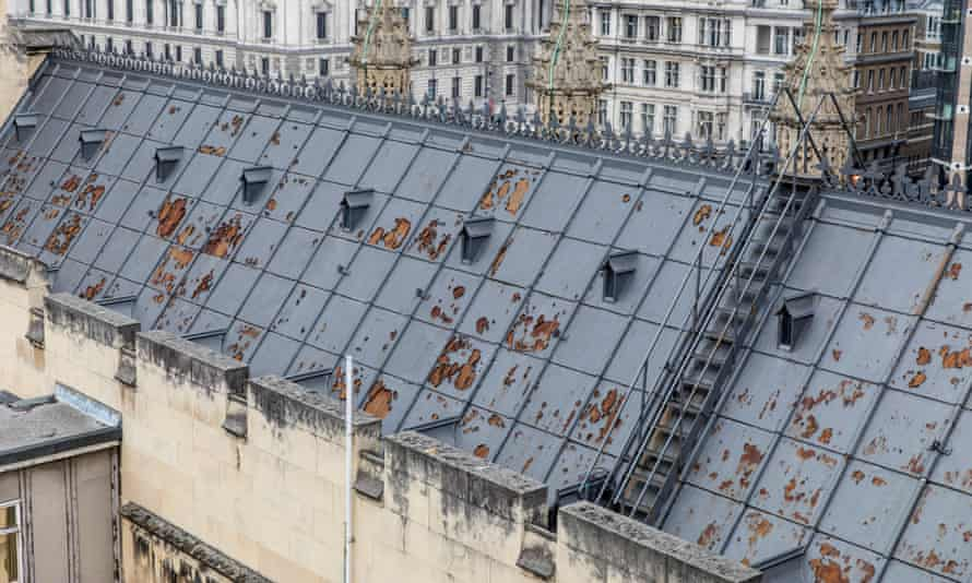 The dilapidated roof at the Palace of Westminster.