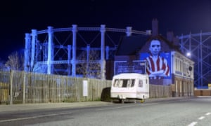 The Blue House pub in Hendon with its mural of Sunderland footballer Raich Carter.