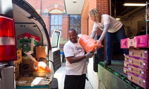 Food For Free staff pick up leftover food from Harvard University graduation events in 2015.