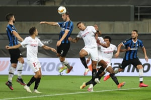 Inter Milan's Diego Godin leaps up to score with a header.