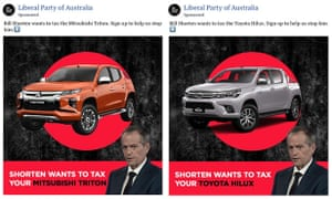 Coalition ads targeting specific car makes and models