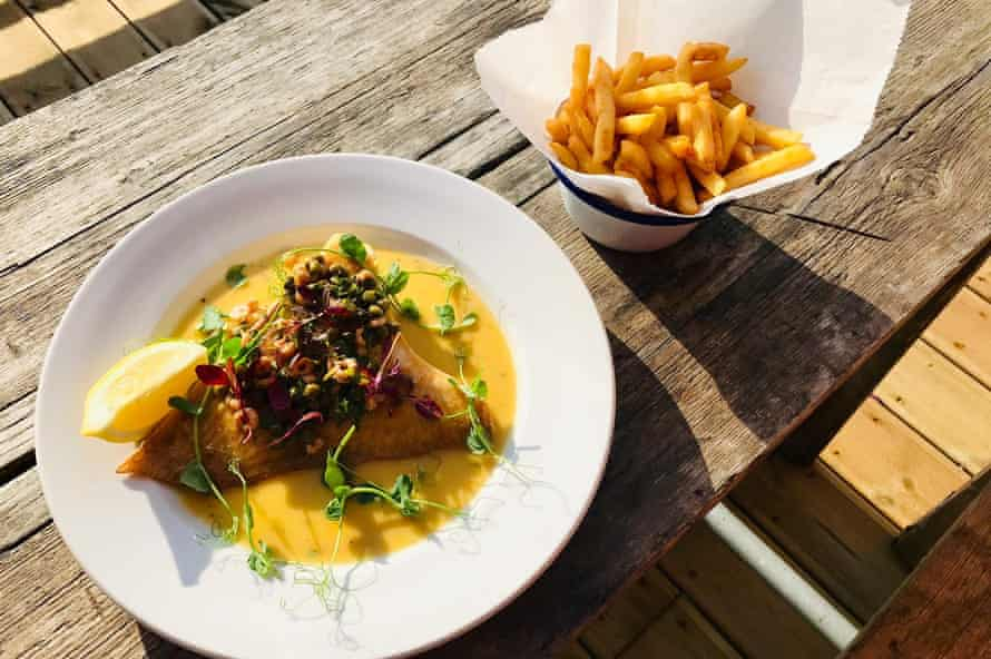 fish and chips on outdoor table, Crabshack, Worthing