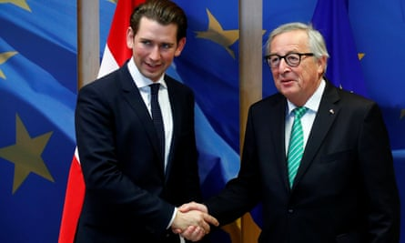 Austria's chancellor, Sebastian Kurz (left), with the EU commission president, Jean-Claude Juncker,  before a meeting  in Brussels