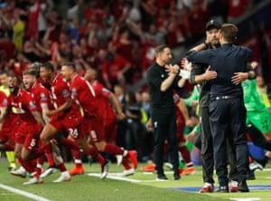 Tottenham manager Mauricio Pochettino (right) congratulates Liverpool manager Jurgen Klopp.