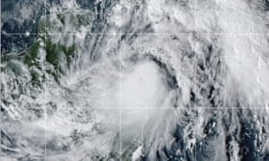 This satellite image provided by the National Oceanic and Atmospheric Administration shows Tropical Storm Zeta Sunday.