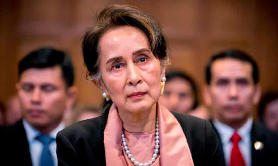 Aung San Suu Kyi attending the start of a three-day hearing on the Rohingya genocide case before the UN International Court of Justice in The Hague.