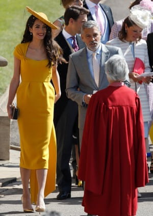 Amal and George Clooney at the wedding of Prince Harry to Meghan Markle.