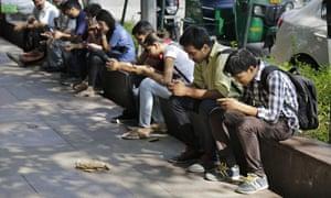 Mobile phone users in Delhi