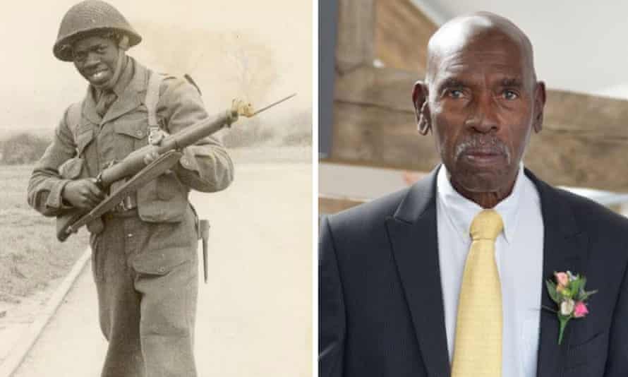 Harold Williams in army uniform and as he is today.