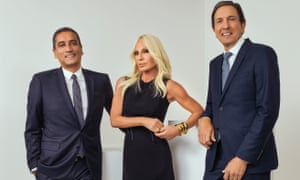 Versace chief executive Jonathan Akeroyd, Donatella Versace and Michael Kors chief executive John D Idol.